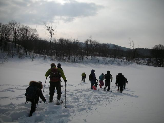 踏みあとのない雪の中をさくさくと歩く.少し重ための雪だった.