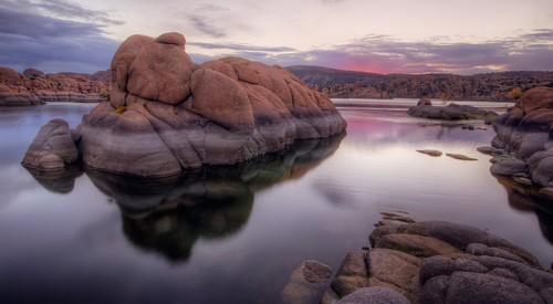 sunset arizona lake reflection sunrise az granite prescott watsonlake