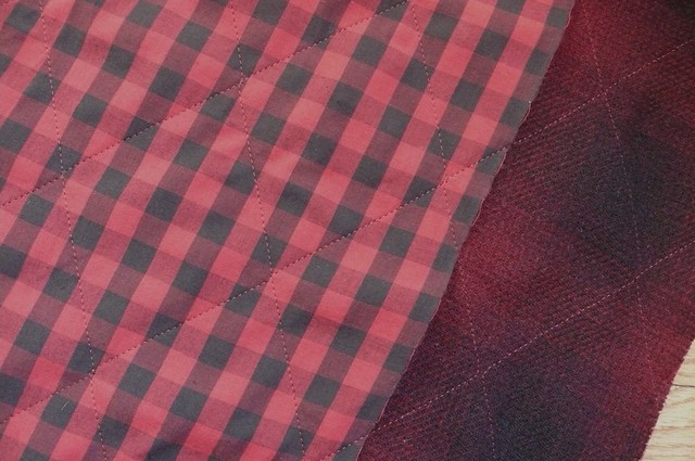 Gingham-backed quilted wool coating from Mood Fabrics NYC