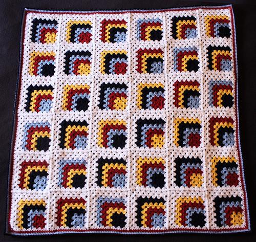 Mitred granny square blanket