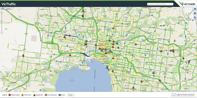 Vicroads traffic map: 8:05am, 30/12/2013