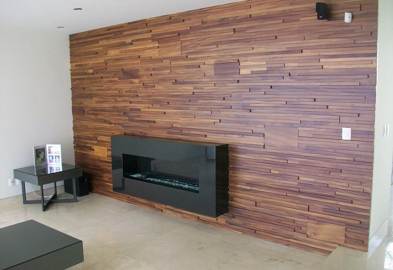 Recubrimiento madera mosaico teca muro dise o fachada - Revestimientos madera para paredes interiores ...