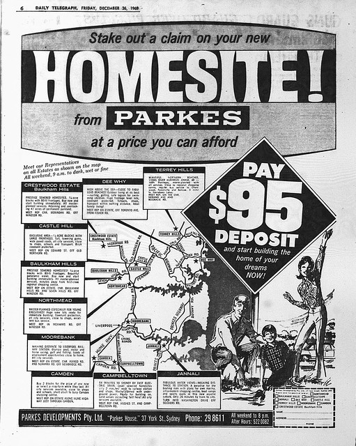 Parkes Developments Ad December 1969 daily telegraph