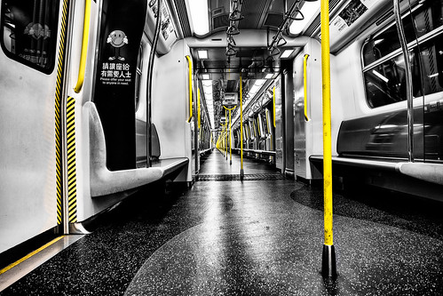china camera light blackandwhite bw white black abandoned lines yellow canon hongkong vanishingpoint other asia long pattern colours metro pov empty wideangle calm abroad repetition fullframe curve kowloon tsimshatsui 1740 endless mtr 6d selectivecolour hunghom uwa canon1740l ultrawideangle danielborg canon6d westrailline