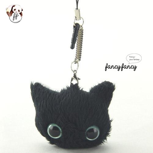 35.療癒貓臉手機吊飾+螢幕擦拭布-黑貓