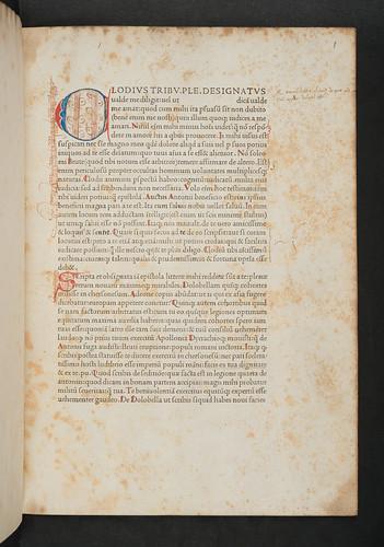 Decorated penwork intial in Cicero, Marcus Tullius: Epistolae ad Brutum, ad Quintum fratrem, ad Atticum