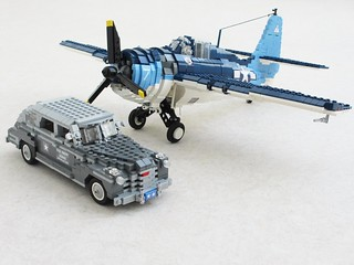 FM-2 Wildcat fighter and Buick Staff Car (1)