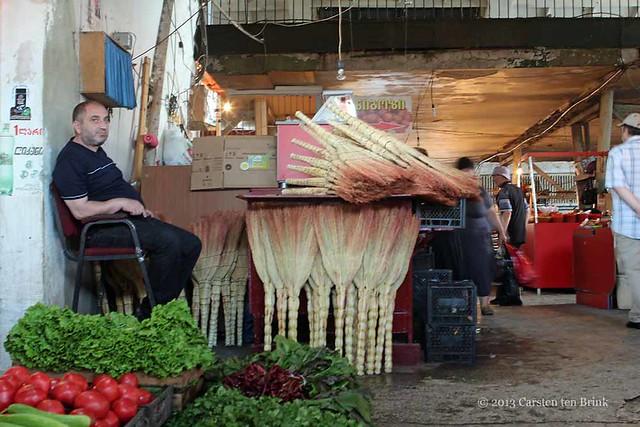Kutaisi market scenes: grim and his brushes