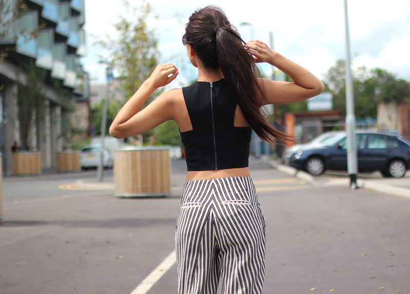 Article 21 Fashion & Style Blog, Topshop Black Crop Top, Black Crop Tops, Front Row Shop Pinstriped Trousers, Striped Trousers, Black Work Outfits, White Pinstriped Trousers, White and Black Pinstripes, uk fashion blogger, top uk blogs, best uk fashion blogs, british fashion blogs, uk chinese blogger, manchester fashion blogger