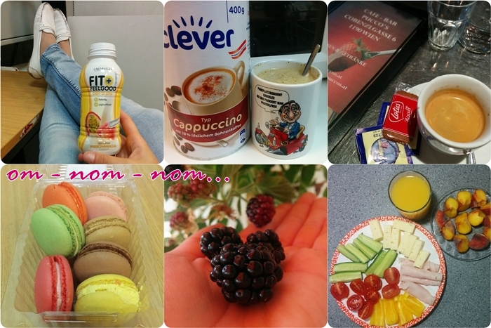fit + feel good diät shake | clever cappuccino & richard lugner tasse | kaffee im pucco's | macarons | brombeere | gesundes abendessen