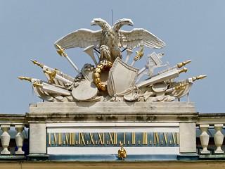 Image of Schoenbrunn Palace near Gemeindebezirk Rudolfsheim-Fünfhaus. habsburg coatofarms schönbrunnpalace clock uhr klok horloge orologio 時計 vienna austria