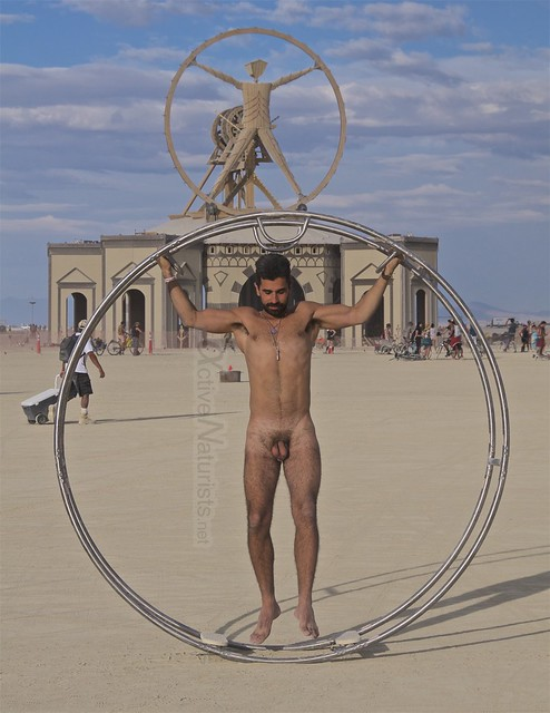 naturist gymnastics wheel camp Gymnasium 0005 Burning Man, Black Rock City, NV, USA