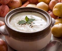 Bowl of warm creamy potato soup