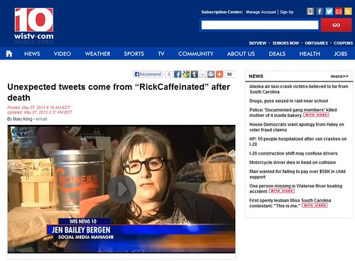 "Unexpected tweets come from ""RickCaffeinated"" after death By WIS10's Mary King"