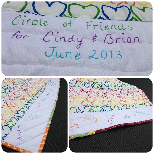 Circle of Friends quilt for Cindy & Brian June13