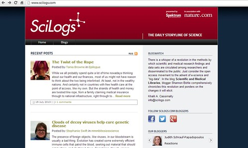 Blog Featured on SciLogs Blogwatch