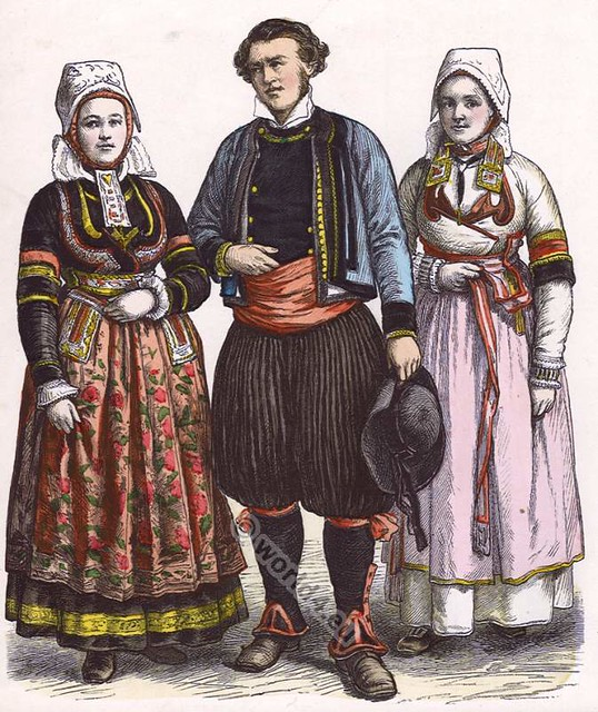 Traditional: Traditional Clothing In Brittany France. French Country