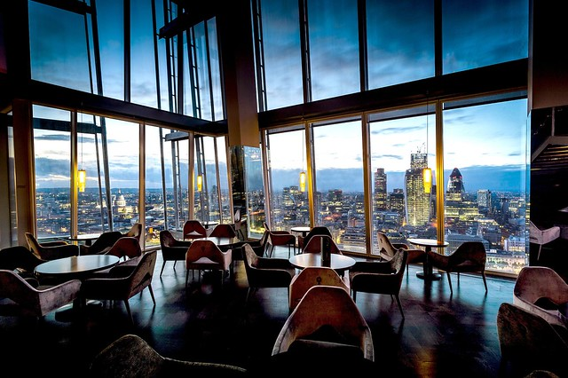View of London by night from Aqua Shard