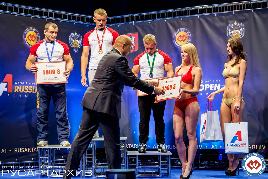 SENIOR MEN LEFT 80KG podium: 1. Oleg Zhokh (Ukraine), 2. Igor Togoyev - (Russia), 3. Mantas Asmonas (Lithuania) │ A1 RUSSIAN OPEN 2013, Photo Source: armsport-rus.ru