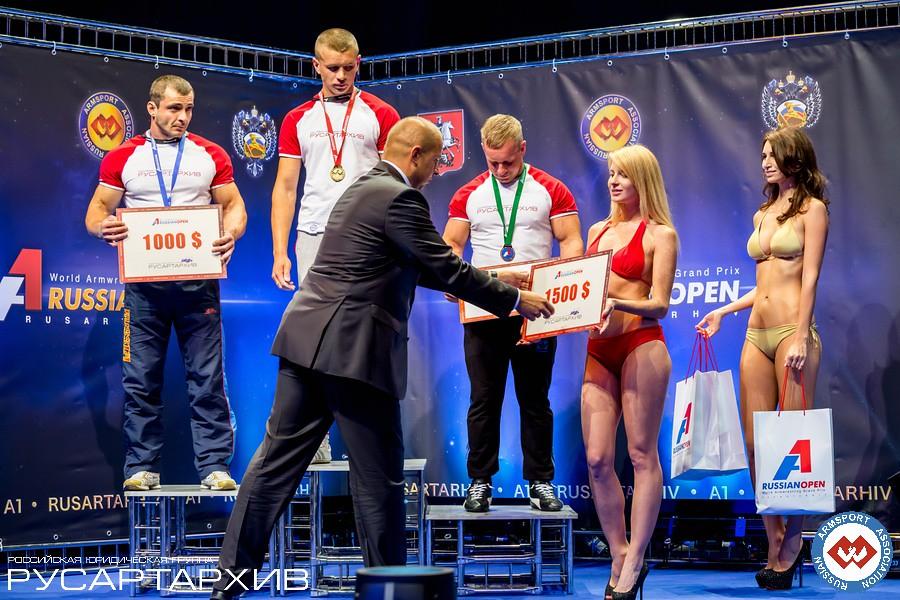 SENIOR MEN LEFT 80KG podium: 1. Oleg Zhokh (Ukraine), 2. Igor Togoyev - (Russia), 3. Mantas Asmonas (Lithuania) │ A1 RUSSIAN OPEN 2013, Photo Source: armsport-rus.ru