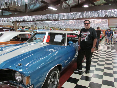 Eddie K posing by a classic American muscle car.  The Volo Auto Museum.  Volo  Illinois.  June 2013. by Eddie from Chicago