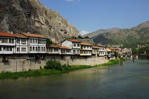 Classic view of the old Ottoman houses overlooking the river in Amasya by CharlesFred