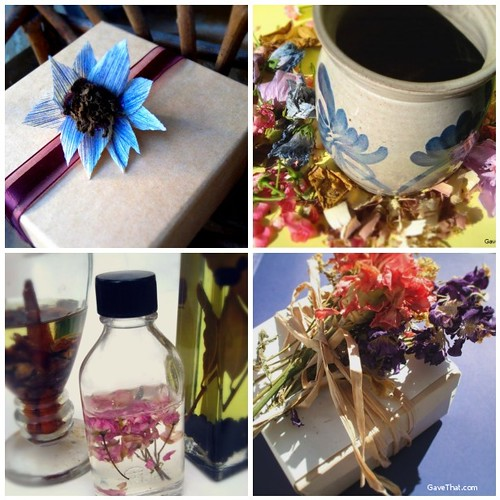 Creating Handmade Gifts out of Dried Flowers clockwise from the top Corn Husk Flowers Moist Potpourri Floral Oils and Dried Floral Gift Topper