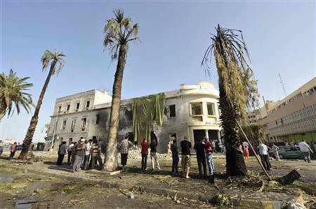 An explosion at the rebel defense ministry in Benghazi, Libya. The incident coincided with the first anniversary of the attacks on the US Consulate. by Pan-African News Wire File Photos