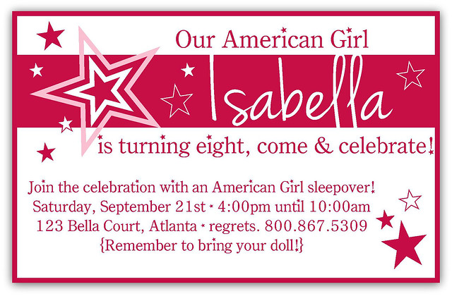 an 'american girl' birthday party  pinafores  pinwheels, Birthday invitations