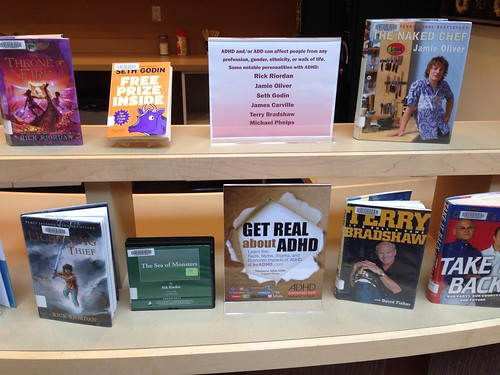 photo of Poirier Library in Coquitlam ADHD Awareness Week book display #2