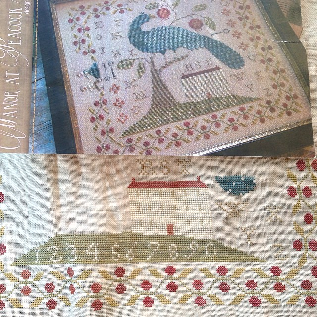 The start of the peacock using GAST Brethren Blue. I think it's a pretty close match to the picture. #manoratpeacockhill #withthyneedleandthread #crossstitch