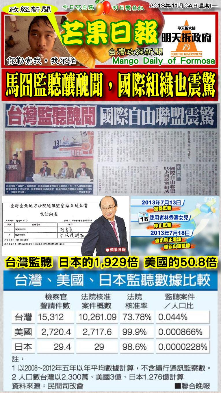 131104芒果日報--政經新聞--馬囧監聽爆醜聞,國際組織也震驚