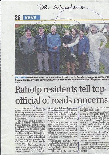 oct 30 2013 Raholp road concerns by CadoganEnright