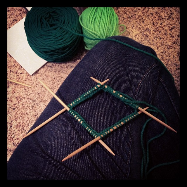 My dude wants a green hat so a green hat he shall have. #knit #knitting #love #hat #green
