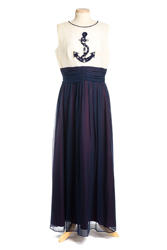 Navy blue and white polyester evening dress