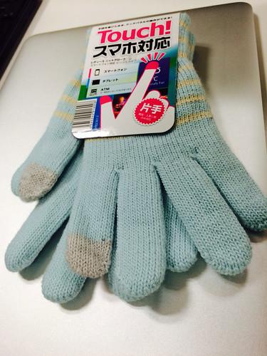 100円ショップのスマホ手袋