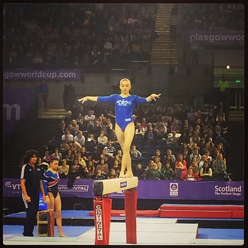Larisa Iordache at the World Cup Gymnastics today. I have a pretty amazing seat.
