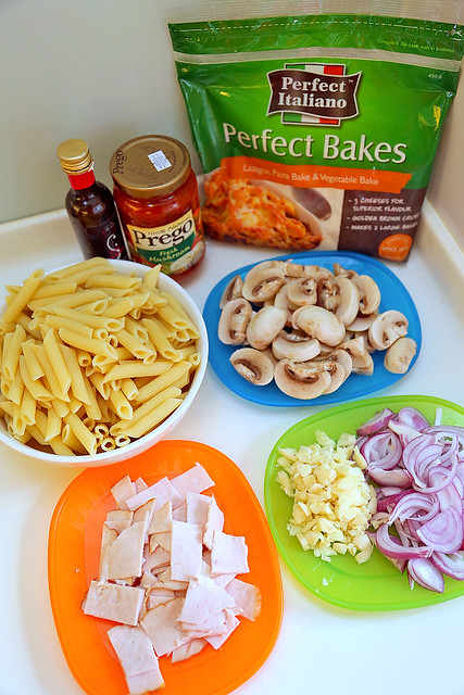 Ingredients for Turkey and Mushroom Pasta Bake