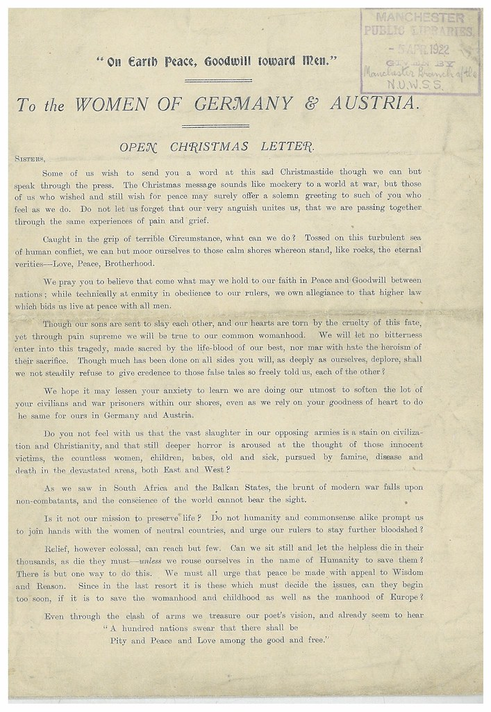 Open Christmas letter from the Suffragettes of Manchester