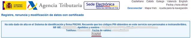 Confirmación de registro en PIN24H