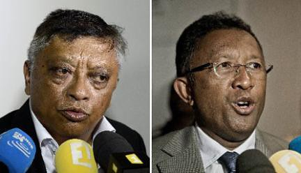 Madagascan candidates who qualified to contest the December 20, 2013 presidential second round election, Dr Jean-Louis Robinson (left) and Mr Hery Rajaonarimampianina. by Pan-African News Wire File Photos