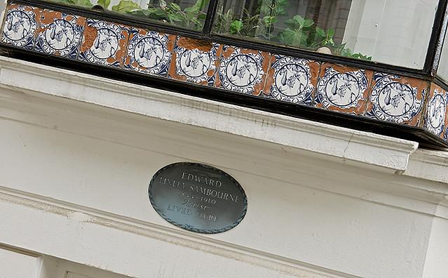 Edward Linley Sambourne black plaque - Edward Linley Sambourne 1844–1910 artist lived here