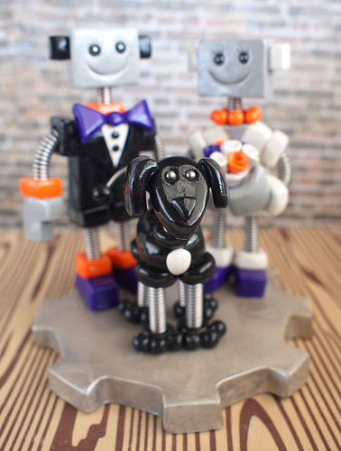 Commission: Robot Wedding Cake Topper Bright Orange, Purple and a Puppy Dog by HerArtSheLoves