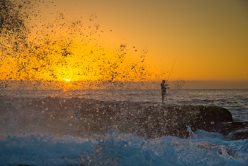 ocean morning blue sea summer sky sun seascape man colour male beach water bondi skyline sunrise canon fishing fisherman day outdoor oz horizon sydney australian wave sunny australia aussie swell bondibeach