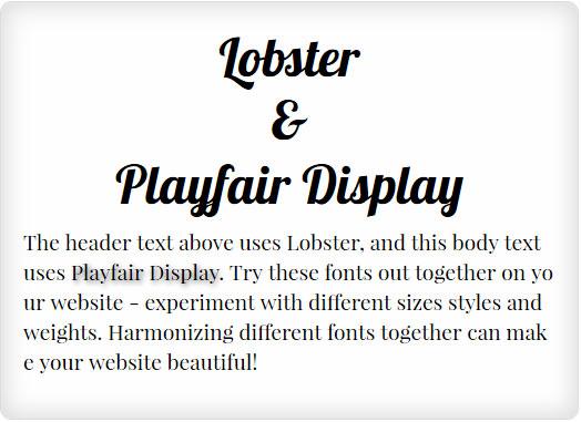 Lobster and Playfair Display