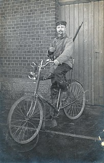 German Landwehr cyclist pictured early during the war in Namur