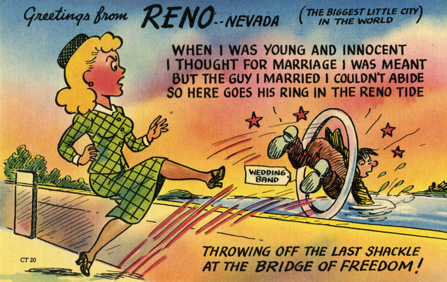 a cartoony postcard playing up Reno as the place to get divorced