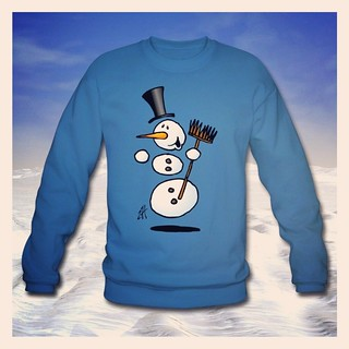 Dansende sneeuwpop / dancing snowman sweater. www.Tekenaartje.nl #Spreadshirt #Skreened #Zazzle #Society6 #Redbubble #winter #shirtdesign #shirt #tekening #tekenen #drawing #art #snow #artist #sketch