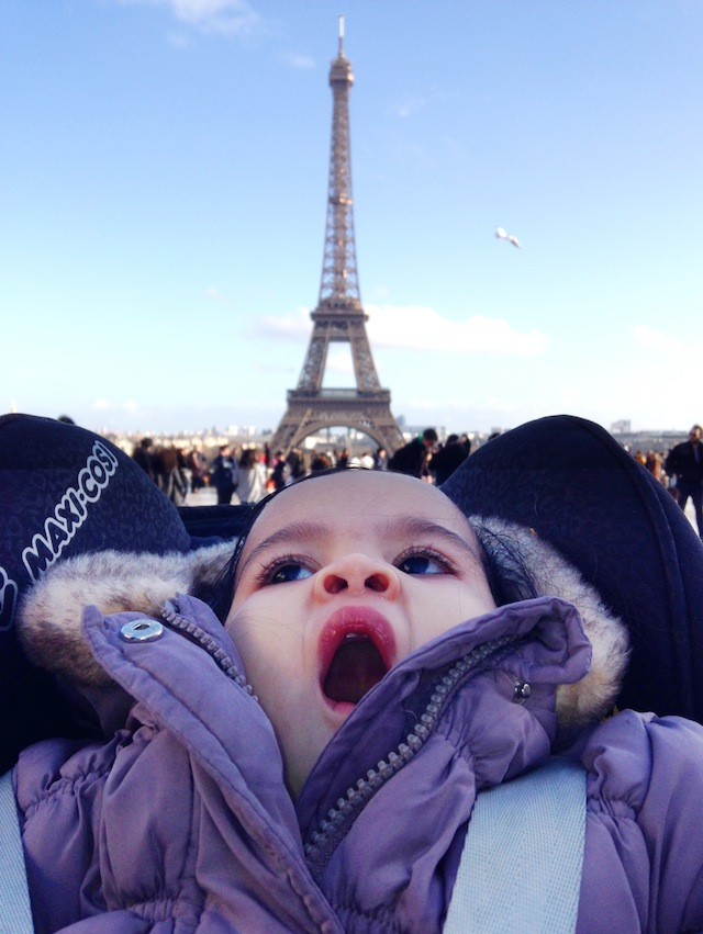 Tala yawning at the Eiffel Tower 11 months