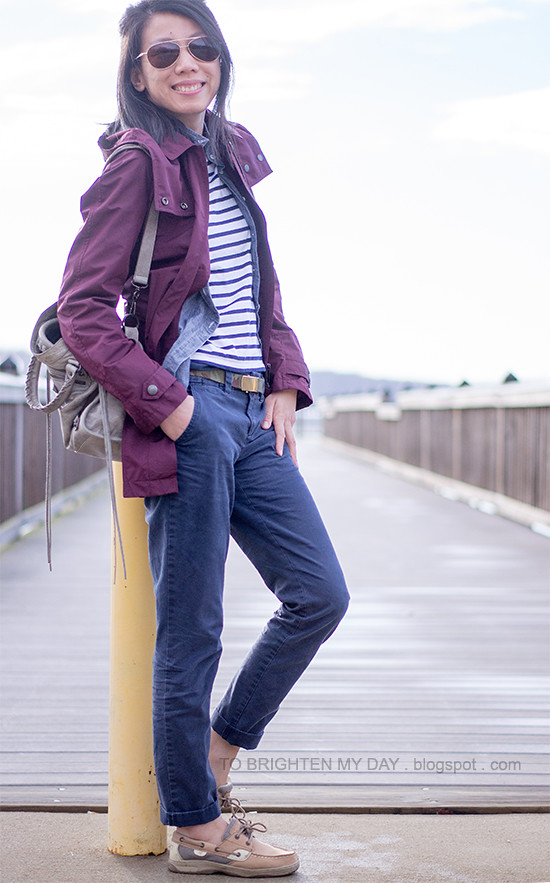 b9b5dd5292c2a6 ... dark red jacket, chambray shirt, striped top, navy khakis, camo belt